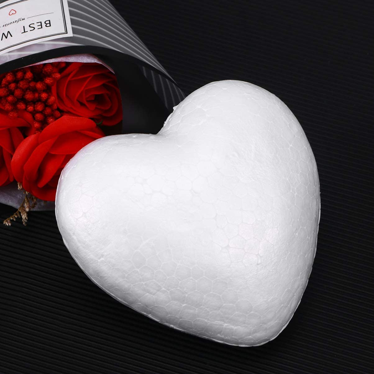 Toyvian Craft Foam Hearts Heart Shaped Styrofoam Polystyrene Foam Ball for DIY Arts Craft Ornaments Wedding Valentines Day Decorations 15cm
