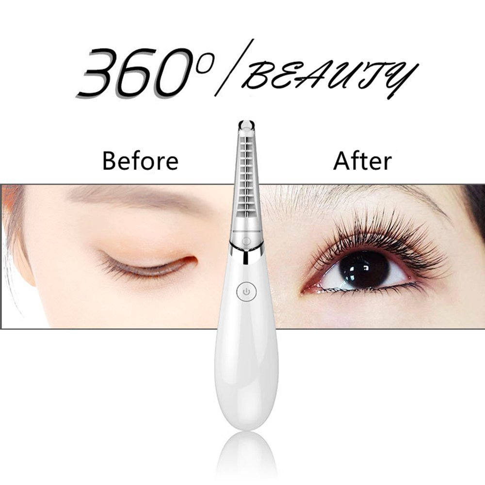 Eyelash Curler Heated, Maxly Comb Design Rechargeable Electric Heated Eyelash Curler Tool for Women