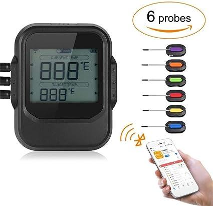 Wireless BBQ Thermometer Mit Sechs Sonden Lebensmittel Ofen Fleisch DE