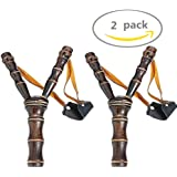 POPLAY Sling Shot Toys Slingshot Bow Catapult,Bamboo Style,2 Pack