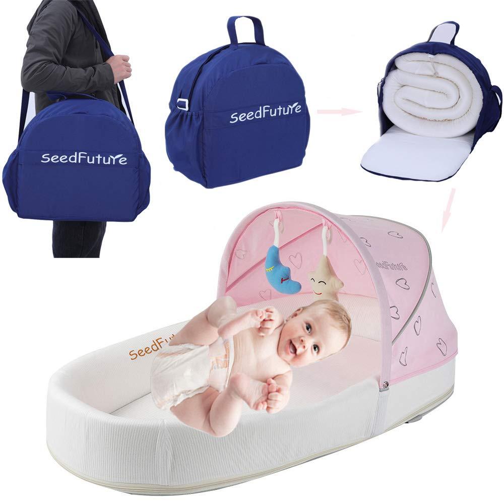 Bebé Capazos Cuna de Viaje de Recién Nacido Cama Nido Portátil Moisés Reductor Cojín con Colchon Lactancia (rosa)