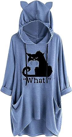 SIMYJOY Femme Oreille Chat Sweats à Capuche Chat Craphique Pulls Mignon Ample Sweat Casual Pulls Manches Longues Pulls Énorme T Shirt pour Femme Fille