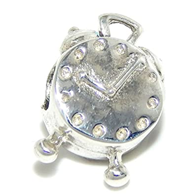 Jewelry & Watches Fashion Jewelry 925 Sterling Silver Alarm Clock Charm