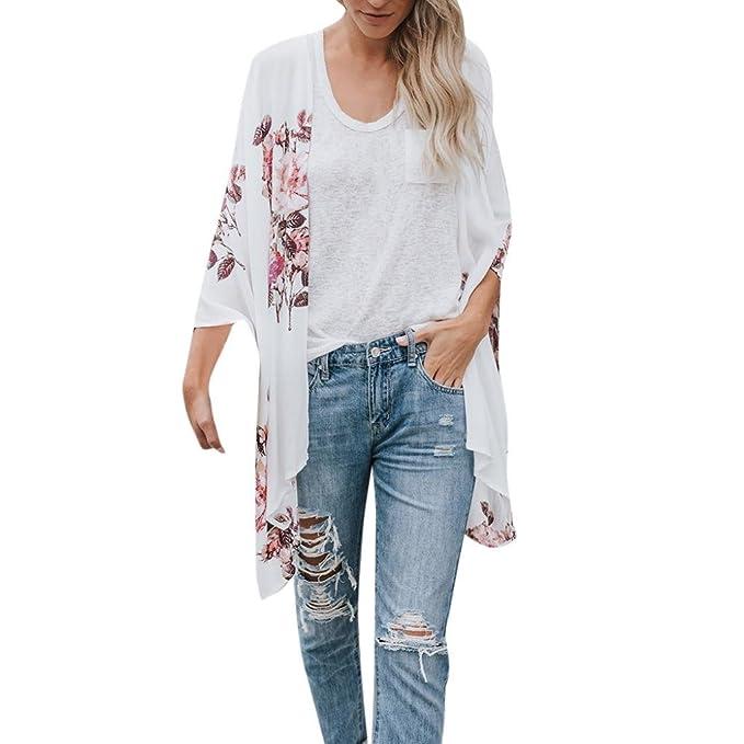 DEELIN Chales De Gasa De La Moda De Las Mujeres De ImpresióN Tops De La Blusa De Kimono Blusa Beachwear: Amazon.es: Ropa y accesorios