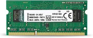 Kingston ValueRAM 4GB 1600MHz PC3-12800 DDR3 Non-ECC CL11 SODIMM SR x8 Notebook Memory (KVR16S11S8/4)