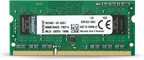1600MHz, SODIMM, DDR3, 1,5V, CL11, 204-pin Kingston KCP316SS8//4 Notebook Arbeitsspeicher 4GB