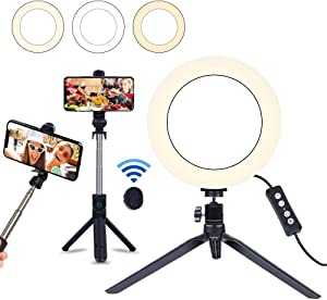 "8"" Selfie Ring Light with Selfie Stick Tripod for Live Stream/Makeup, Saveyour Mini LED Camera Selfie Ringlight for YouTube Video/Photography Compatible with iPhone Xs Max XR Android"
