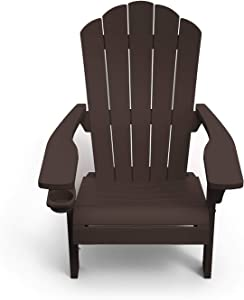 Outdoor Patio Garden Deck Furniture Resin Adirondack Chair with Built-in Cup Holder (Brown)