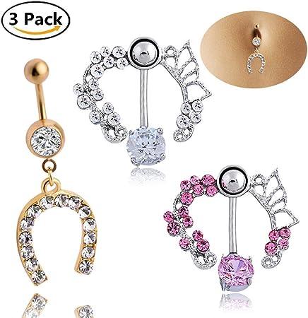 pipihua 3pcs Multi estilo acero inoxidable quirúrgico Piercing de ombligo Piercing Ombligo piercings de Ombligo umbilical anillos: Amazon.es: Hogar