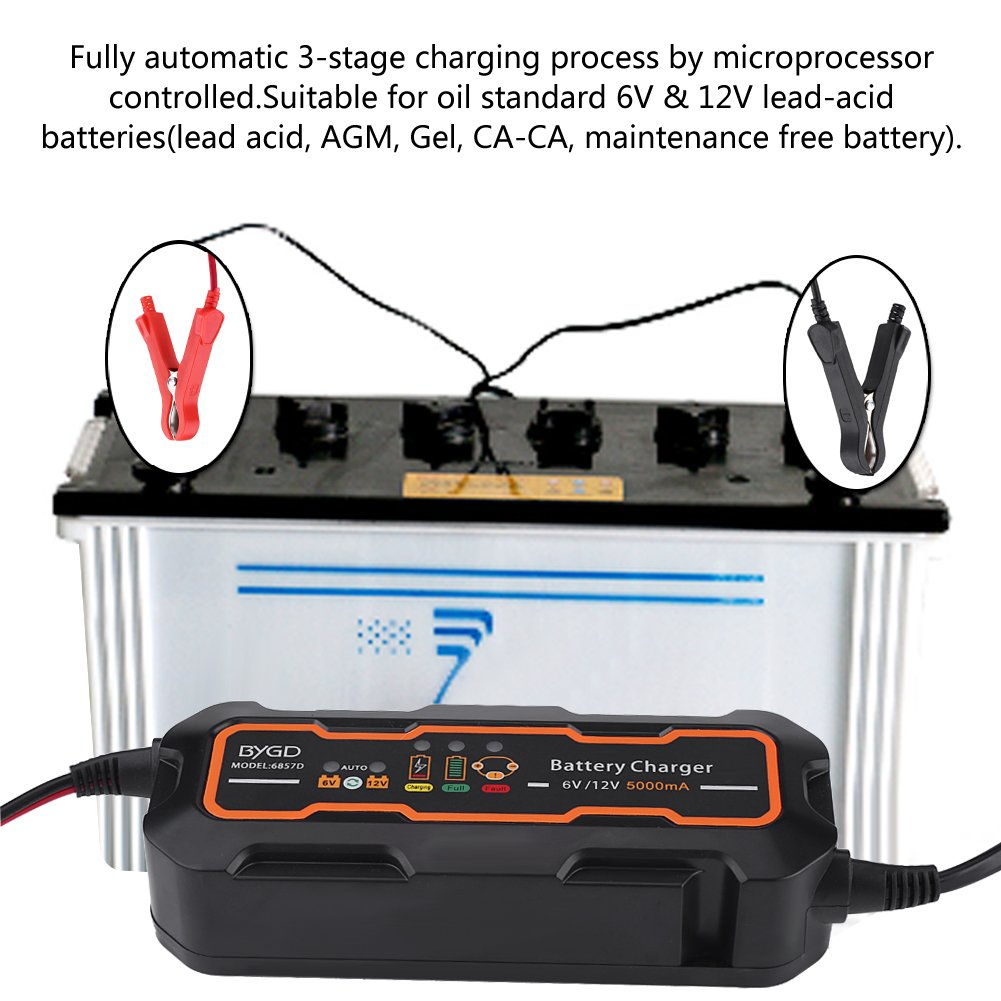 Qiilu 6v 12v 5a Automotive Smart Battery Charger 12v5a With Polarity Output Short Circuit Chargerautomative Charging For Car Vehicle Truck Motorcycle Boat Agm Gel