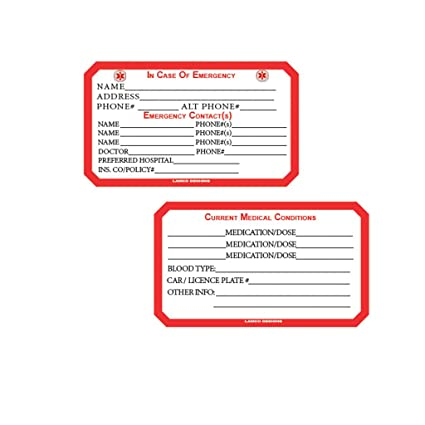 Emergency Medical And Personal Information Card 2 Pack Wallet Size