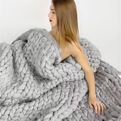 Bulgary Strickdecke, grob gestrickte Wolldecke als Überwurf fürs Sofa- oder Tagesdecke, Wolle, grau, C£º120*150cm/47.42*59.05