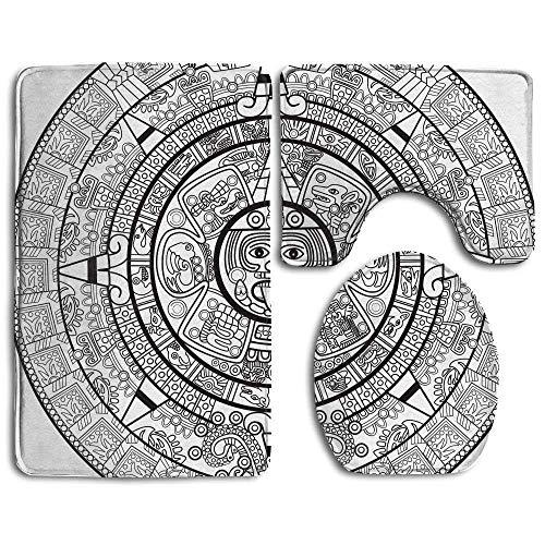 CoolToiletLidCoverCC Illustration Accurate Antiquities Astrological Aztec Geometric Indigenous Bathroom Rug 3 Piece Bath Mat Set Contour Rug and Lid -