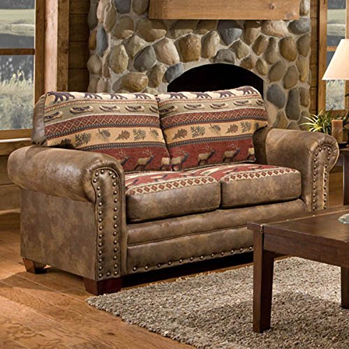 American Furniture Classics Sierra Lodge Love Seat (Furniture Leather Sofa And Loveseat Set)