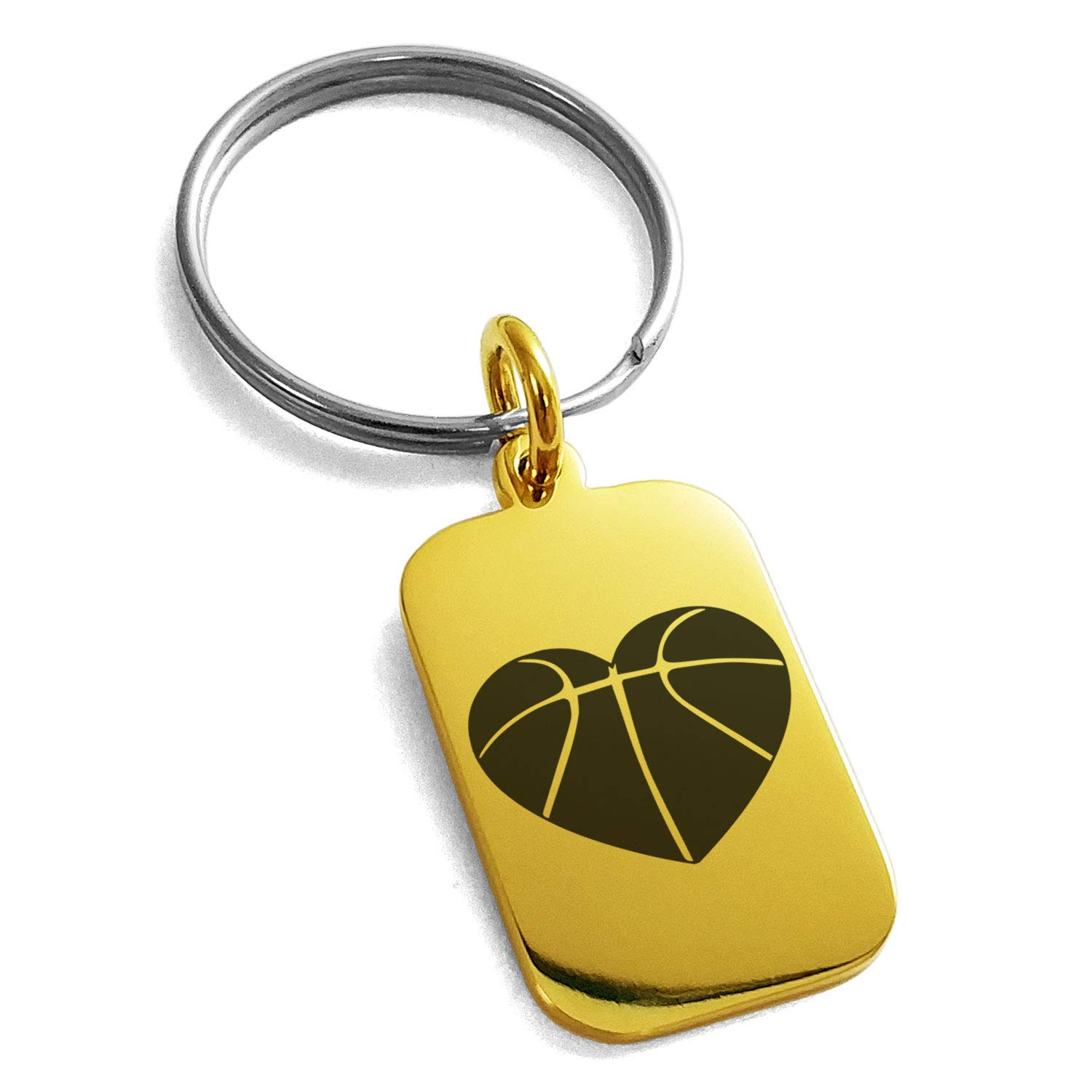Tioneer Gold Plated Stainless Steel Love Basketball Heart Engraved Small Rectangle Dog Tag Charm Keychain Keyring by Tioneer (Image #1)