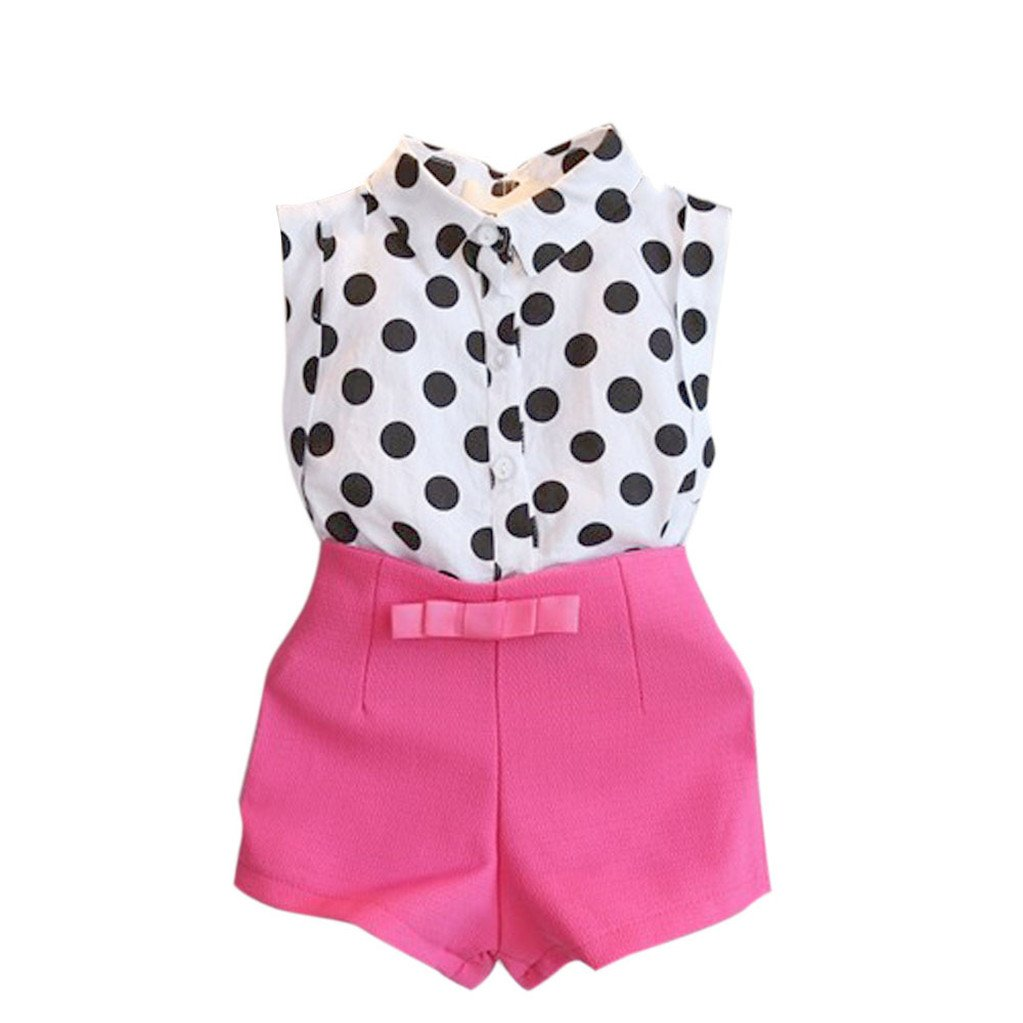 Bellelove Newest Baby Girls Summer Clothes,Kid Girls Polka Dot Sleeveless Blouse T-Shirt Tops + Pink Bowknot Pants Shorts 1Set for 3-8 Years Old
