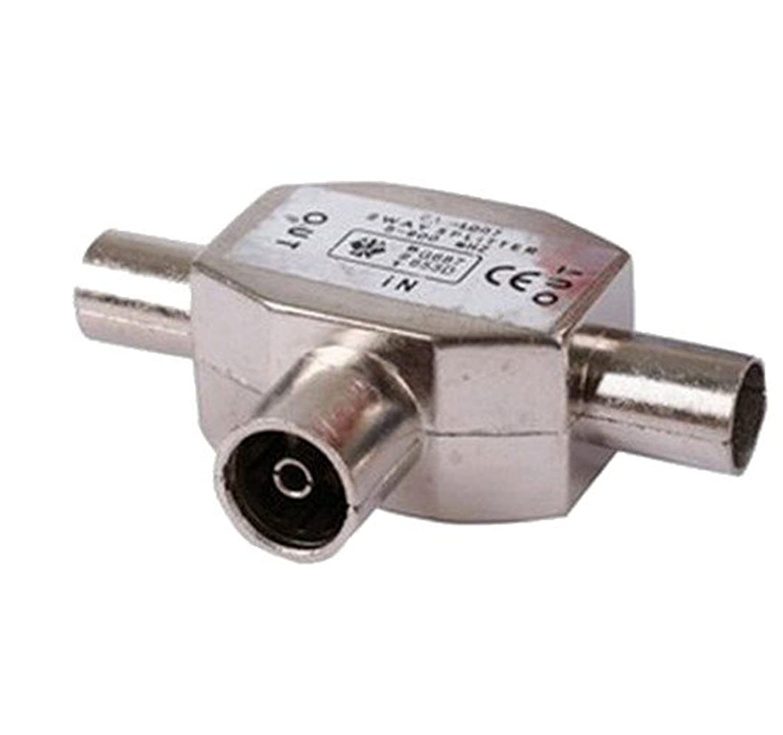 2x Duplicador Ladrón de Dos vías para Señal de cable Coaxial Radio y Televisión 2384: Amazon.es: Electrónica