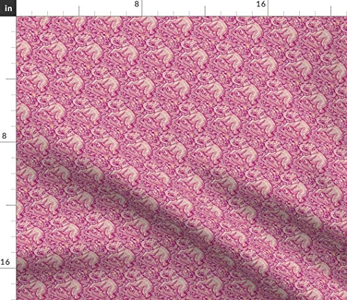 Spoonflower Indian Fabric - Elephant Postage Stamp Batik Pink and White Hexagons by Amyvail Printed on Petal Signature Cotton Fabric by The Yard