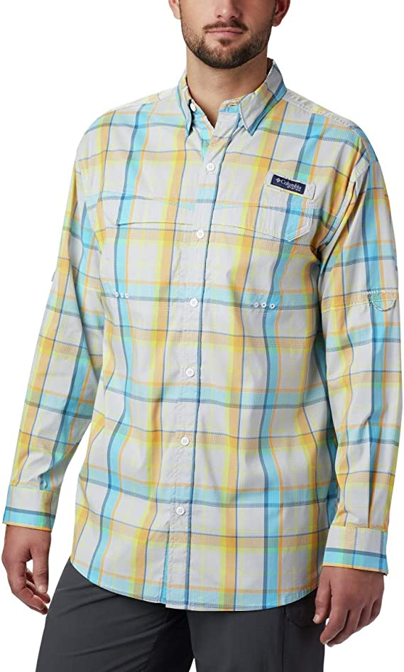 NEW COLUMBIA Omni-Shade MEN/'S SUPER LOW DRAG LONG SLEEVE BUTTON UP SHIRT SIZE M