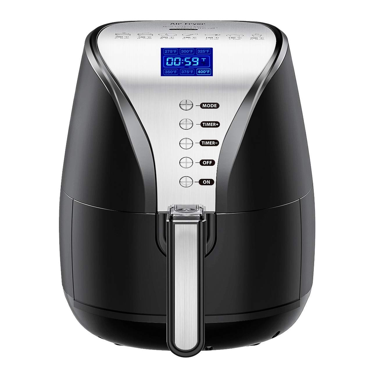 Air Fryer, 4.2 Quart Oilless Hot Air Fryer W Cookbook Oven Larger Cooker, Auto Off, Nonstick Basket, Dishwasher Safe, LCD Screen Convenient Buttons, BPA Free, 1500W, 2 Years Warranty-095AB