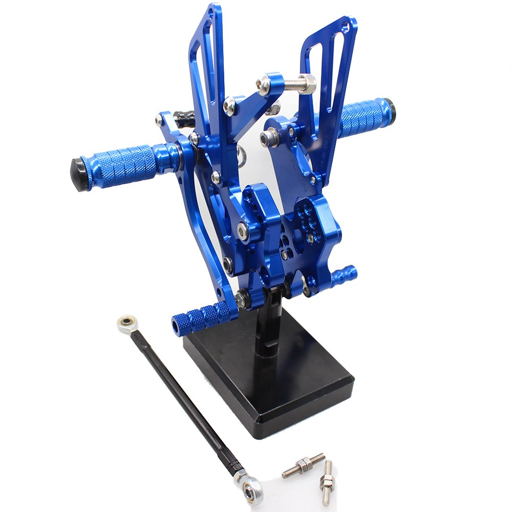 FXCNC Motorcycle Rear Foot Pegs CNC Rear set Footrests Fully Adjustable Rear Foot Boards Fit for KAWASAKI ZX10R 2004 2005 Blue