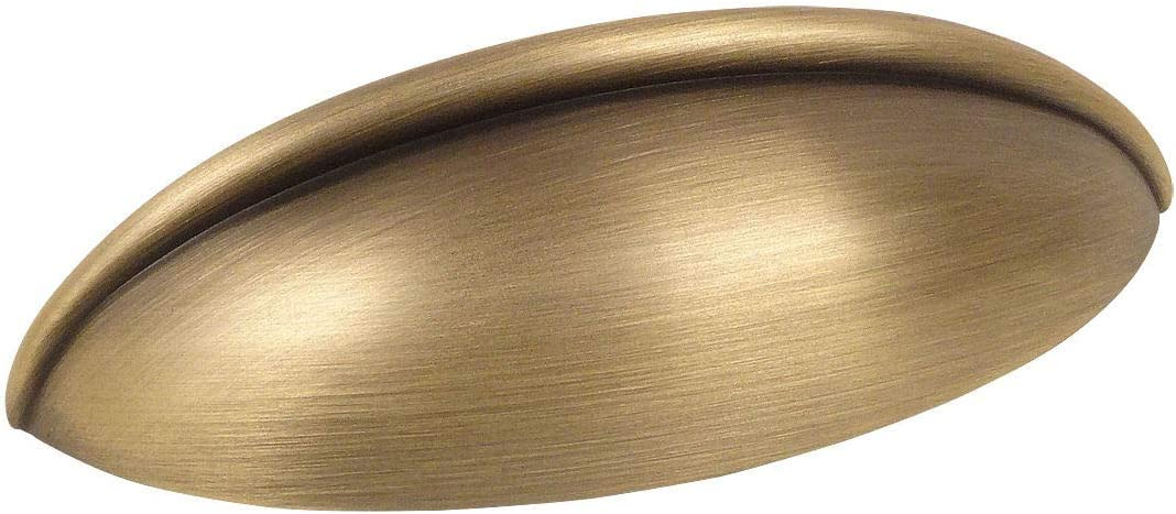 "10 Pack - Cosmas 1399BAB Brushed Antique Brass Cabinet Hardware Bin Cup Drawer Handle Pull - 2-1/2"" Inch (64mm) Hole Centers"
