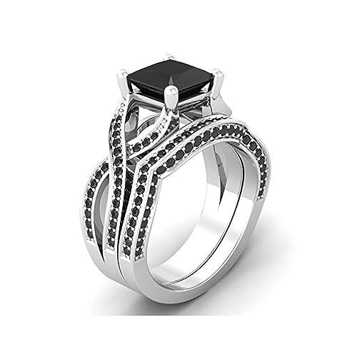 Mejor compromiso anillos de boda en 3,30 ct negro circonitas cúbicas corte princesa de