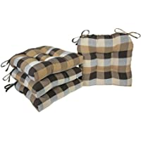 Arlee - Buffalo Check Chair Pad Seat Cushion, Full-Length Ties for Non-Slip Support, Durable, Superior Comfort & Softness, Reduces Pressure, Washable, Great for Indoor Use, 16€ X 16€ (Brown, Set of 4)