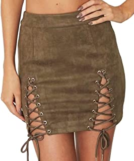 68127358753 Aliwendy Women Sexy Criss Cross Tight Bodycon High Waist Faux Suede Stretch Mini  Skirt