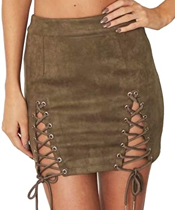 021899fde3 Aliwendy Women Sexy Criss Cross Tight Bodycon High Waist Faux Suede Stretch Mini  Skirt(Army