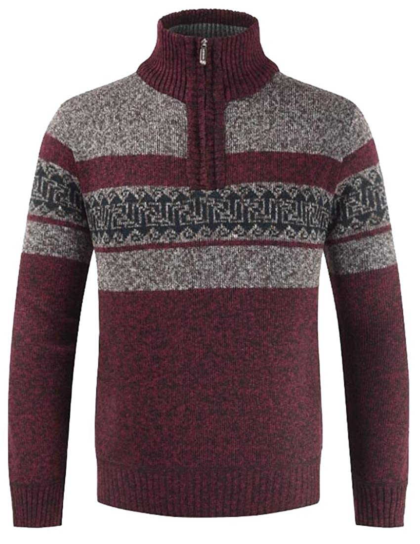 Alion Men Slim Cable Knit Quarter Zip Long Sleeve Turtle Neck Pullover Sweater