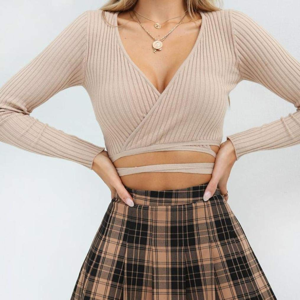 2a4041250d4b Toimoth Sexy Womens Deep V Neck Long Sleeve Solid Bandage Crop Tops Short  Blouse Shirt at Amazon Women's Clothing store: