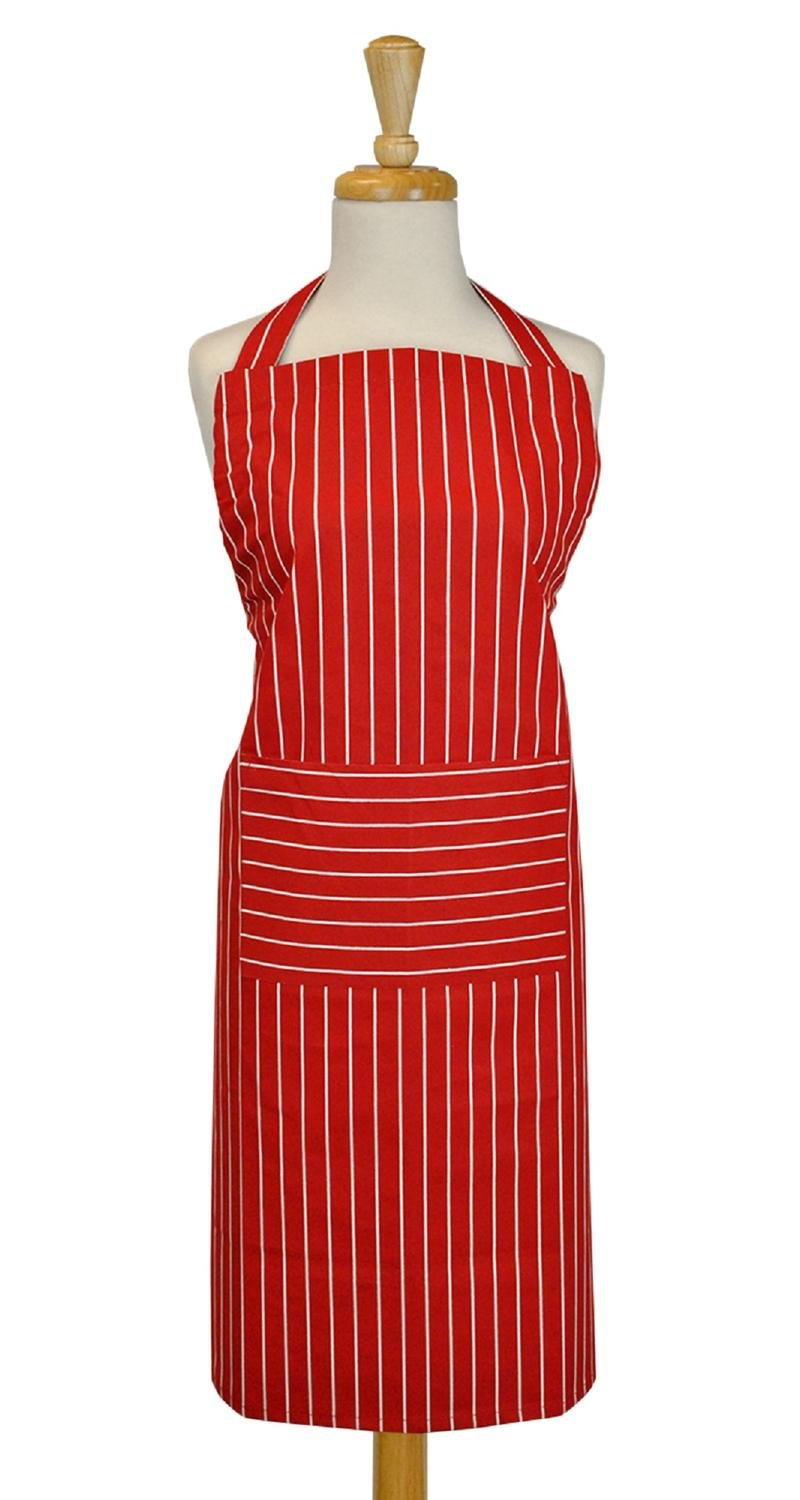 CC Home Furnishings 35'' Tango Red and White Striped Design Unisex Chef Apron with Adjustable Strap