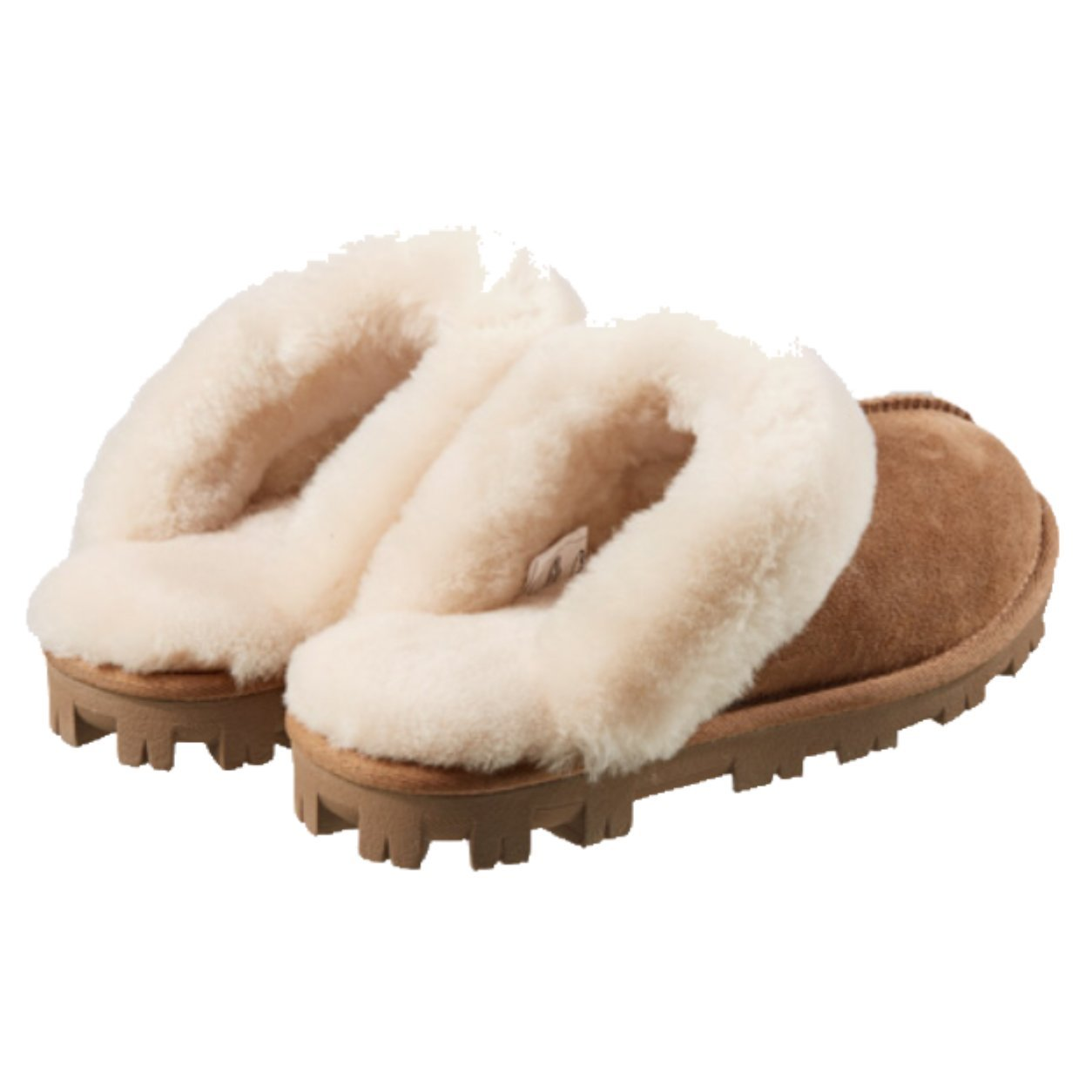 Kirkland Signature Ladies Womens Shearling Suede Slippers Chestnut Brown