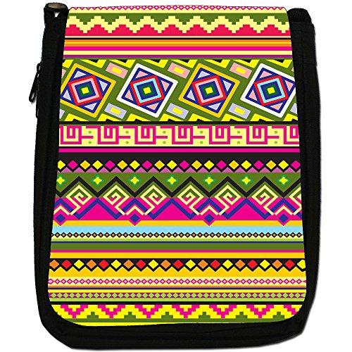 Green Traditional Canvas Medium Aztec Mexican Shoulder Yellow Pink Patterns Bag Indigenous Tribal Black Size qwYBEv