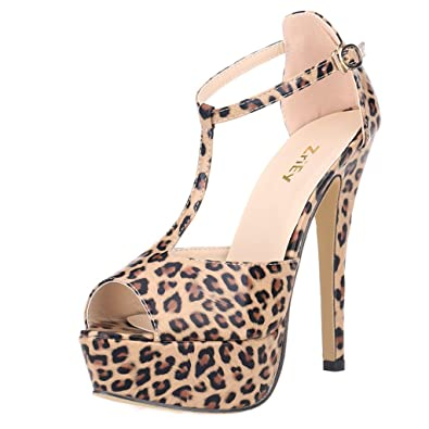 c1bffb8eb09e ZriEy Women s Sexy Peep Toe High Heel T-Strap Platform Sandals Leather  Patent Leopard Size