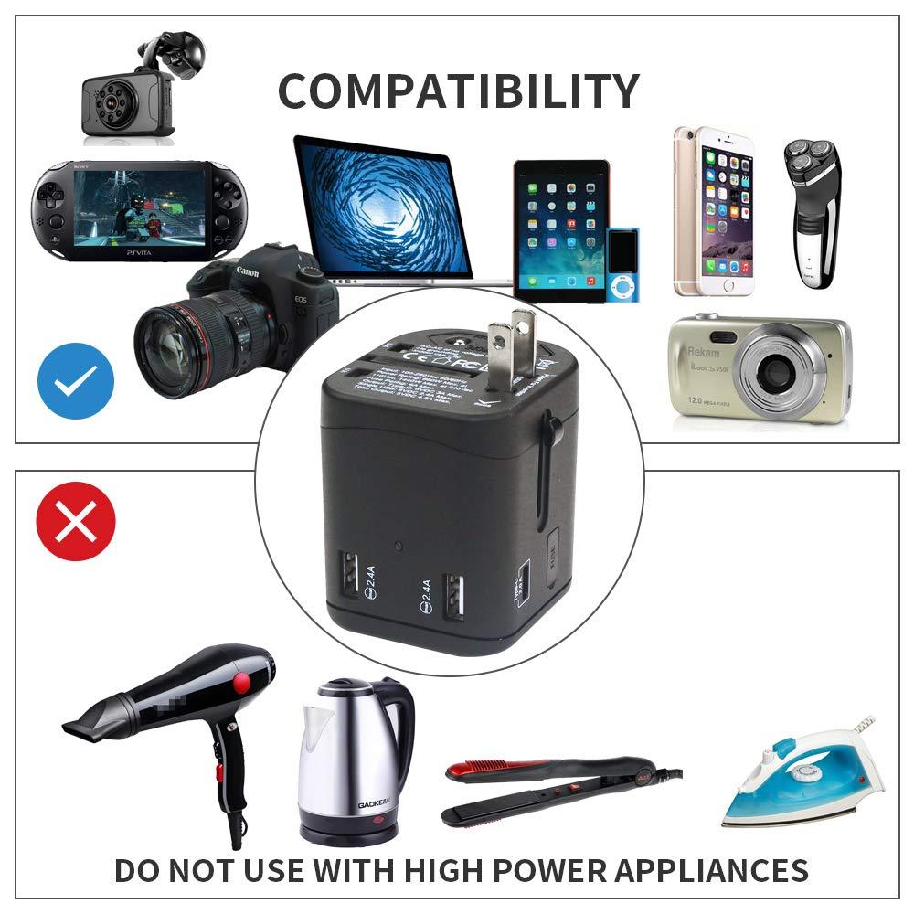 4 USB Smart Ports Power Converter Universal Travel Adapter International/Worldwide All in One USB Power Converter Travel Plug Power Adapter Wall Quick Charging Socket for USA EU UK AUS Asia