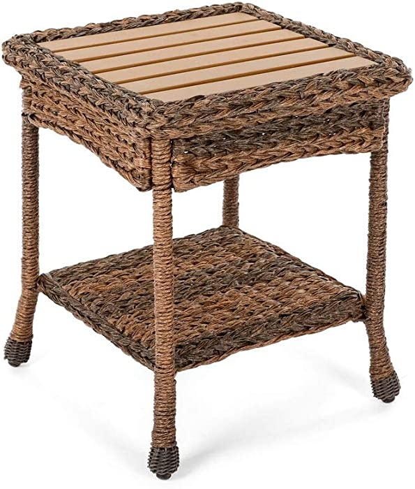 W Unlimited Outdoor Faux Sea Grass Garden Patio Furniture End Table, Brown