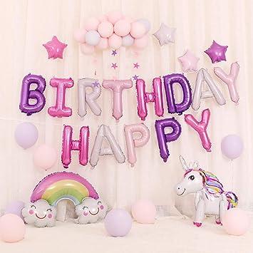 Unicornio suministros de fiesta decoración 35Pcs, Unicornio suministros de fiesta decoración, Globos de cumpleaños de unicornio, Globos de unicornio ...