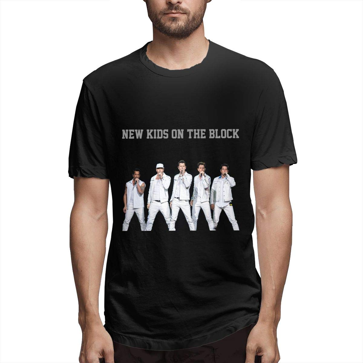 MaMing New Kids On The Block Mans Fashion 3D Printed Round Neck Short-Sleeved T-Shirt Black