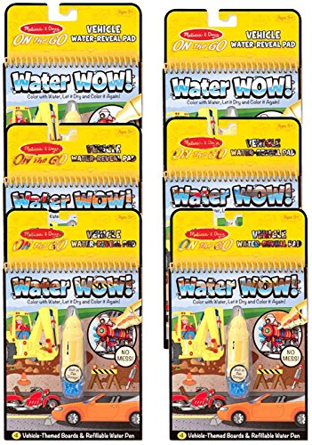 Melissa & Doug On the Go Water Wow! Activity Book, 6-Pack – Vehicles Bundle Toy