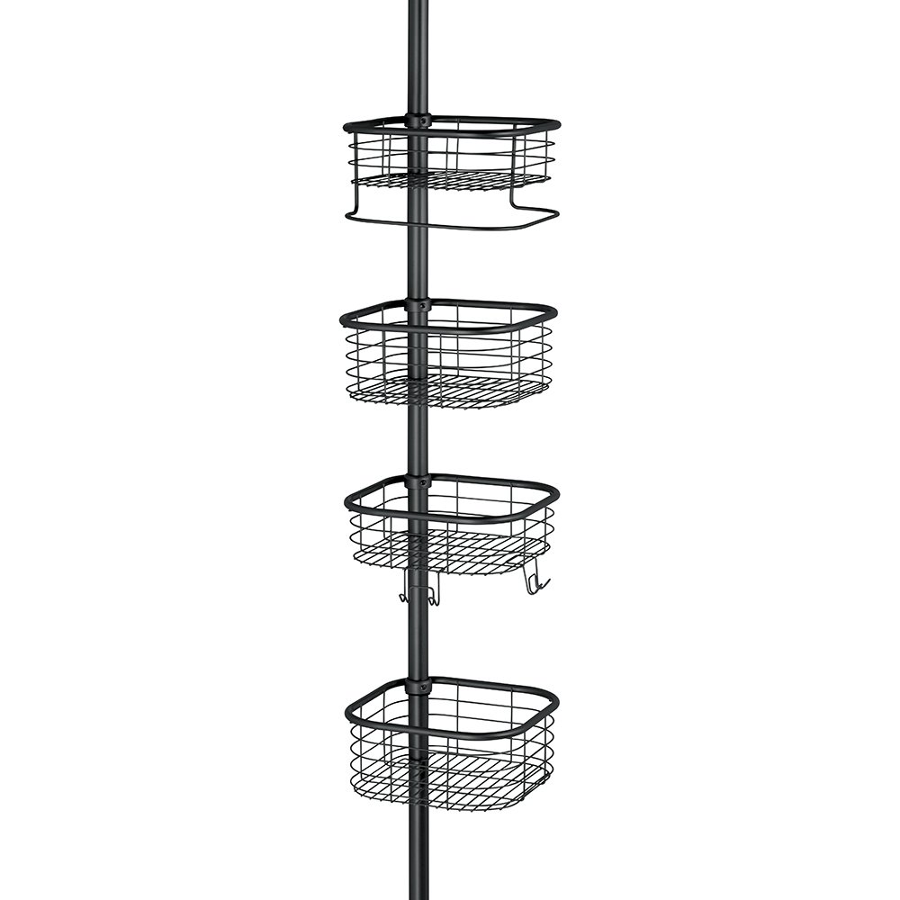 InterDesign Forma Constant Tension Shower Caddy – Square Bathroom Storage Shelves for Shampoo, Conditioner and Soap, Matte Black