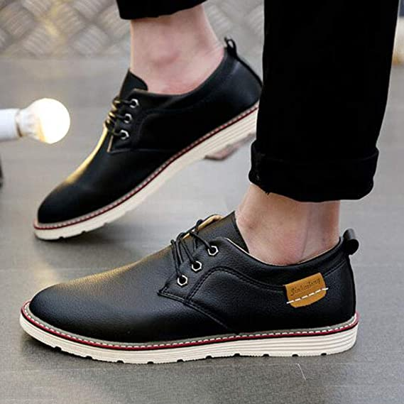 b1ad92628ba7 Amazon.com: YCSD Men's Casual PU Shoes Breathable Flat Fashion Lace ...