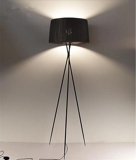 Lámparas de pie Negro Trípode Lámpara de pie Lámpara de tela Base de lámpara de hierro forjado Salón Habitación Decoración de iluminación moderna: Amazon.es: Hogar