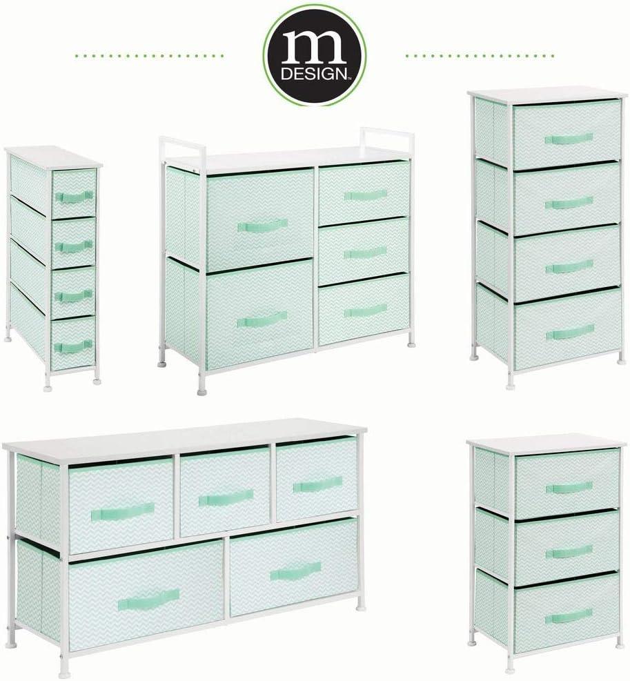 table de chevet pour chambre mDesign commode 4 tiroirs en tissu//m/étal//bois vert menthe//blanc table de nuit pour les v/êtements couvertures studios et petits espaces etc