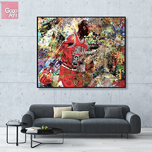 - GoGoArt ROLL Canvas print wall art giclee home decor picture photo huge big poster abstract modern (no framed no stretched not oil painting) Michael Jordan nba sport Chicago bulls mvp ab A-0003-1.25