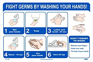 NMC PST138C FIGHT GERMS BY WASHING YOUR HANDS 12X18 VINYL POSTER