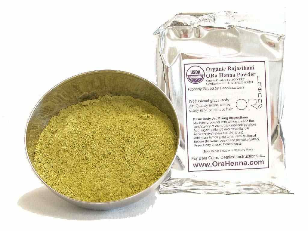 Rajasthani Henna Tattoo And Hair Color Natural Organic Indian Pure No Chemicals BAQ 100 Grams Beachcombers HP-Raj