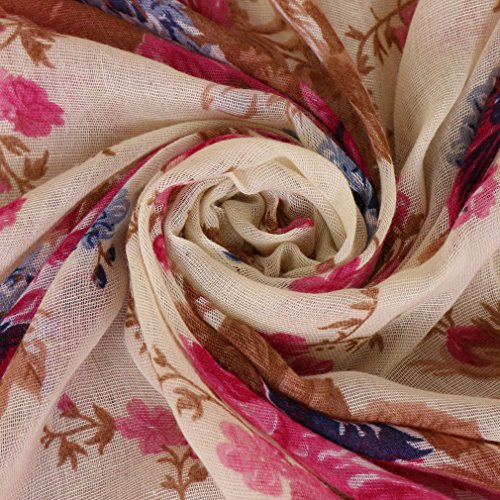 LMVERNA Women peony flowers Scarf fashion Lightweight printe scarves Shawl Wrap design long Scarves