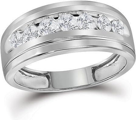 10 kt oro blanco sola fila boda banda anillo de diamantes redondos ...